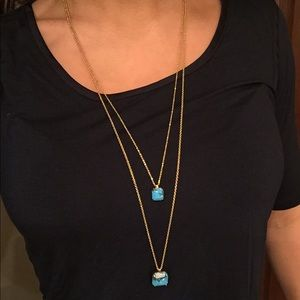 Ann Taylor double layer blue stone necklace!